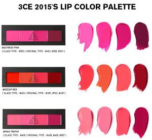 3ce-2015s-lip-color-palette